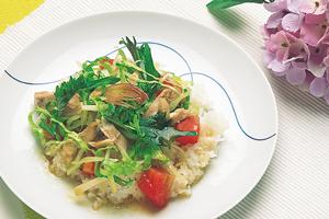 鶏肉とせん切り野菜ののっけ盛り