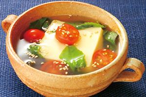 卵とうふとモロヘイヤのあんかけスープ