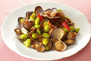 しじみと枝豆のピリ辛炒め