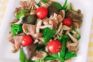 夏野菜と炒める豚肉の甘辛炒め