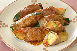 豚肉とズッキーニのバタポン焼き